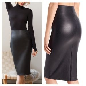 COMMANDO Faux Leather Midi Pencil Skirt NWT SK06